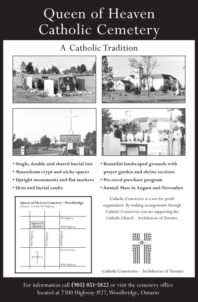 Catholic Cemeteries Newsprint Ad layout