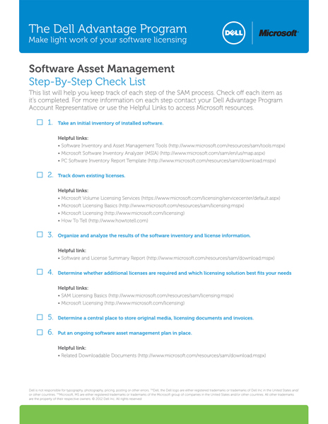 Software Asset Management Checklist