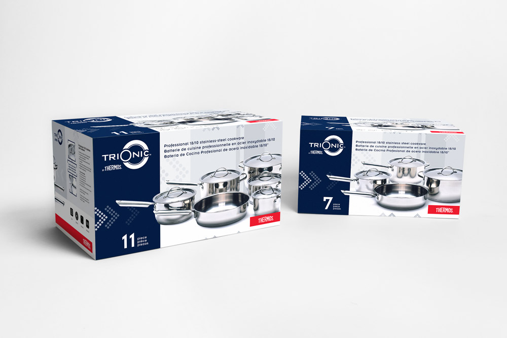 Box packaging design for Professional cookware line, 3D